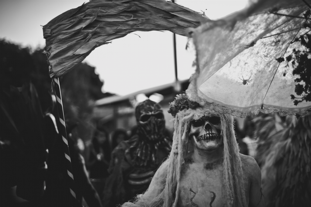 Characterisation of Santa Muerte (Death) in a parade, Comparsa de Candiani, Oaxaca, Mexico Photo by Misael Abad Flores