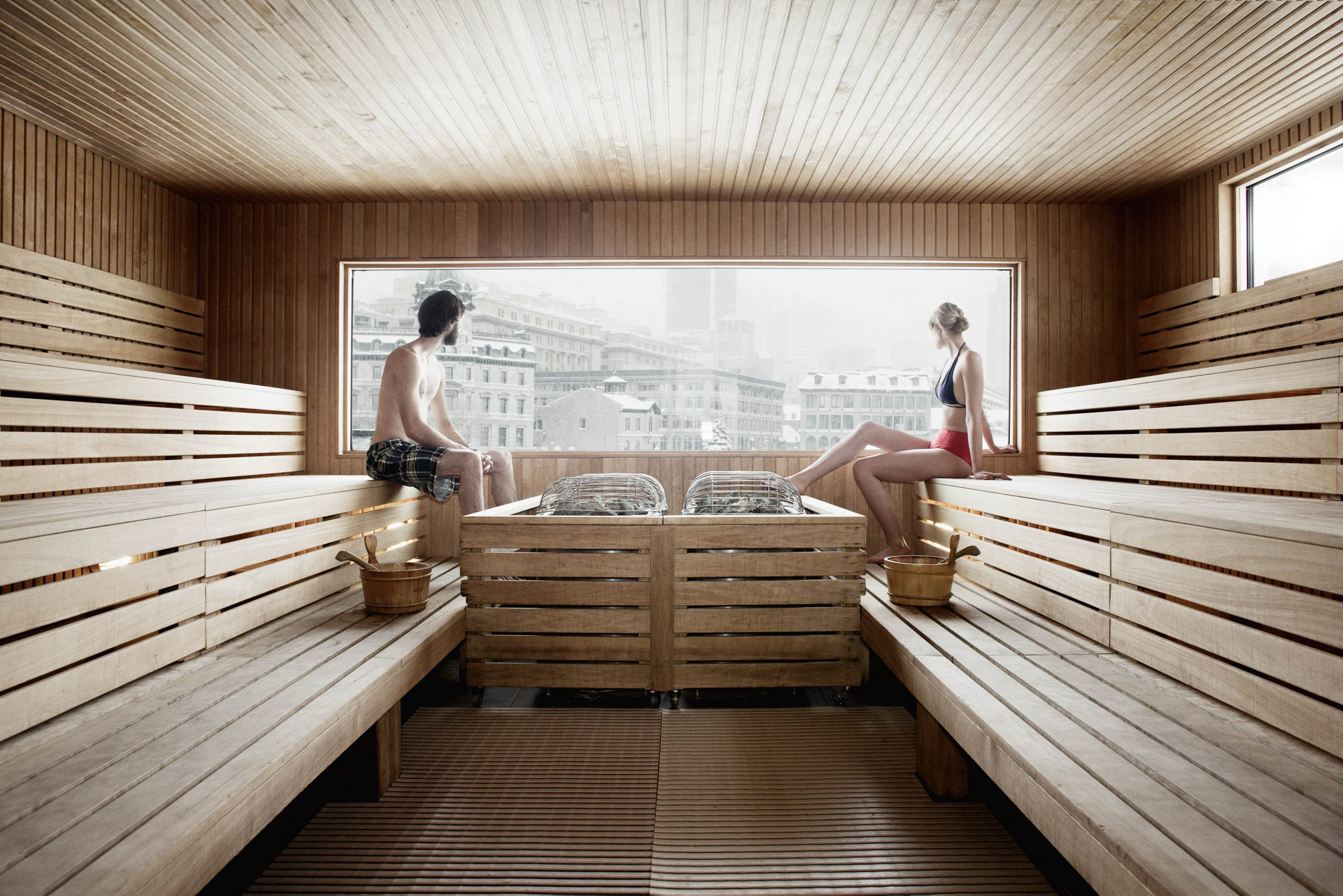 Bota Bota floating spa sauna room