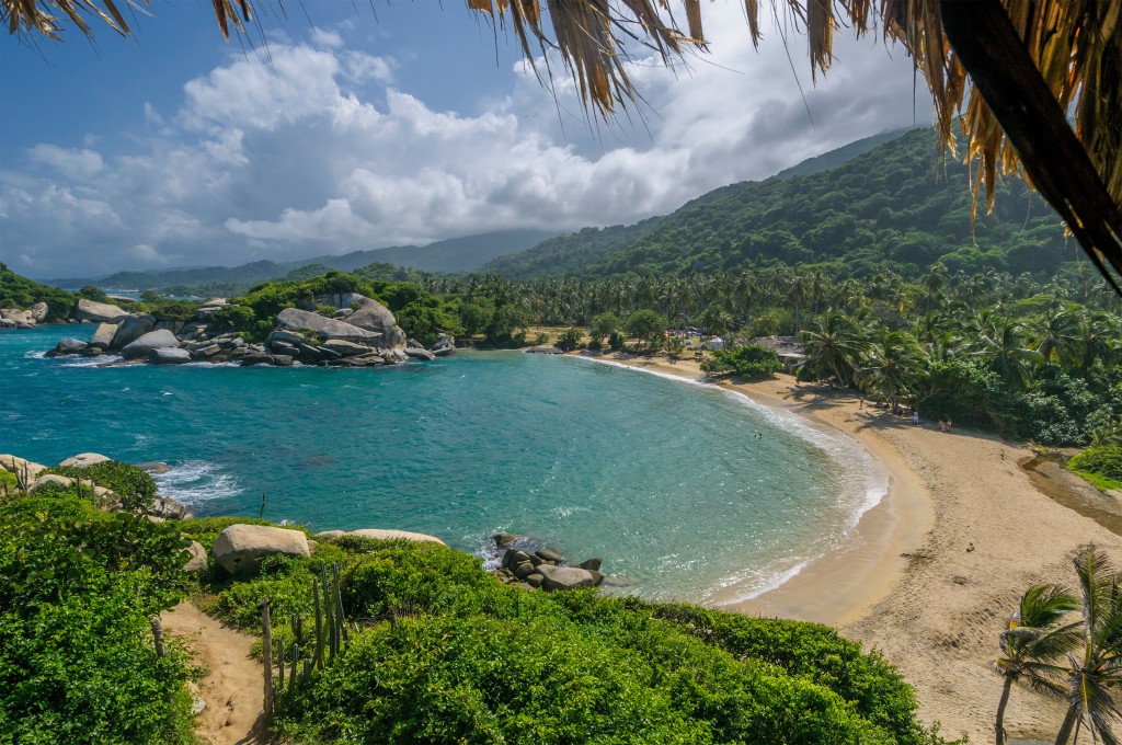 Tayrona National Park, Colombia, with its coconut palms, granite boulders and dense impenetrable looking jungle.
