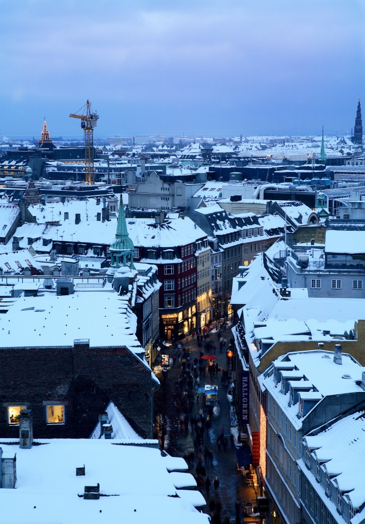 An aerial view of Strøget and the snow capped roofs of Copenhagen