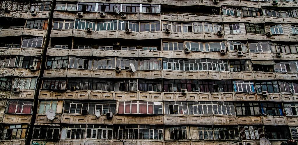 Drab and dingy apartment blocks in Bishkek, the Kyrgyzstan capital