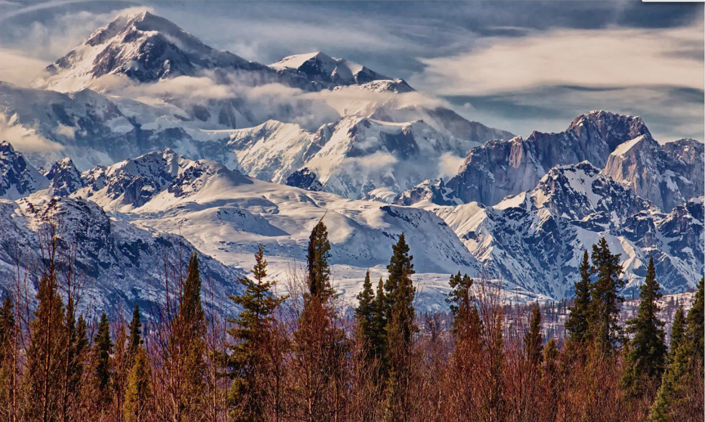 Denali, Alaska This National Park in south-central Alaska is home to the tallest mountain in North America, from which the park gets its name. The mountain is so tall at 6190 metres that it has its own weather system, along with more than 600 earthquakes a year thanks to the fault line running below. Temperatures here have fallen as low as -73 degrees Celsius. Photo by Michael Rogers