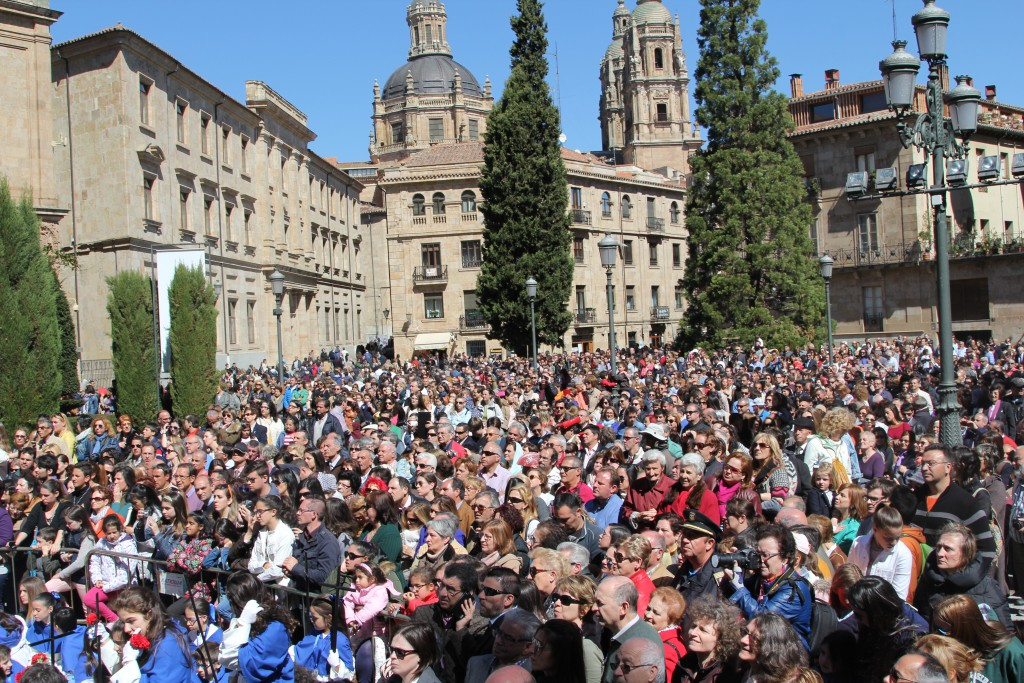 Huge crowd in a square at Semana Santa