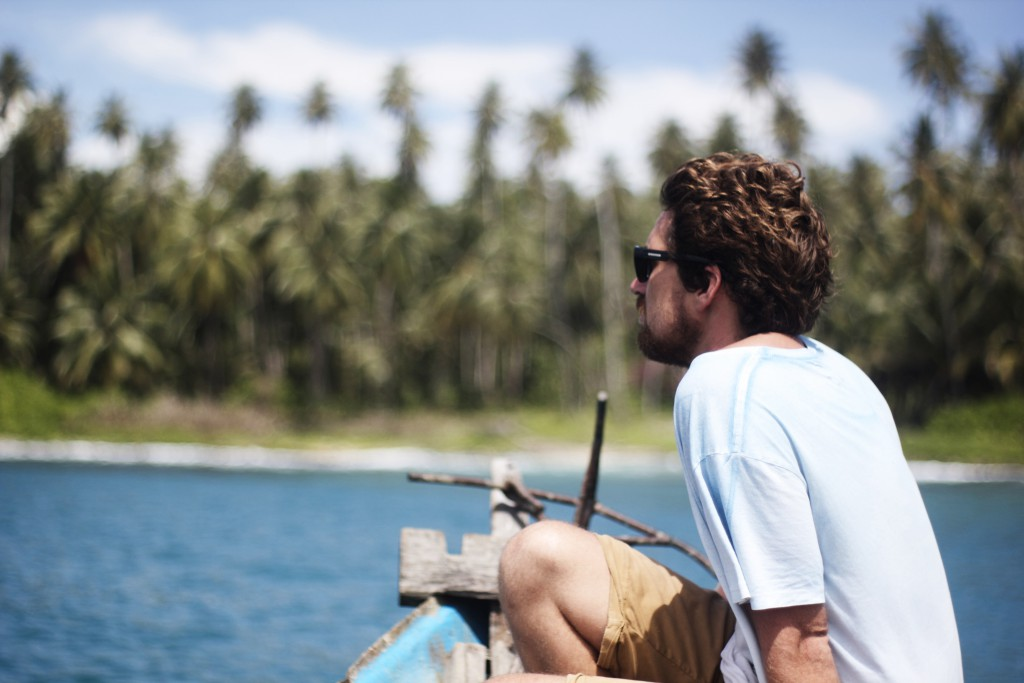 Luke scoping small island coconut plantations, Simeulue, Aceh.