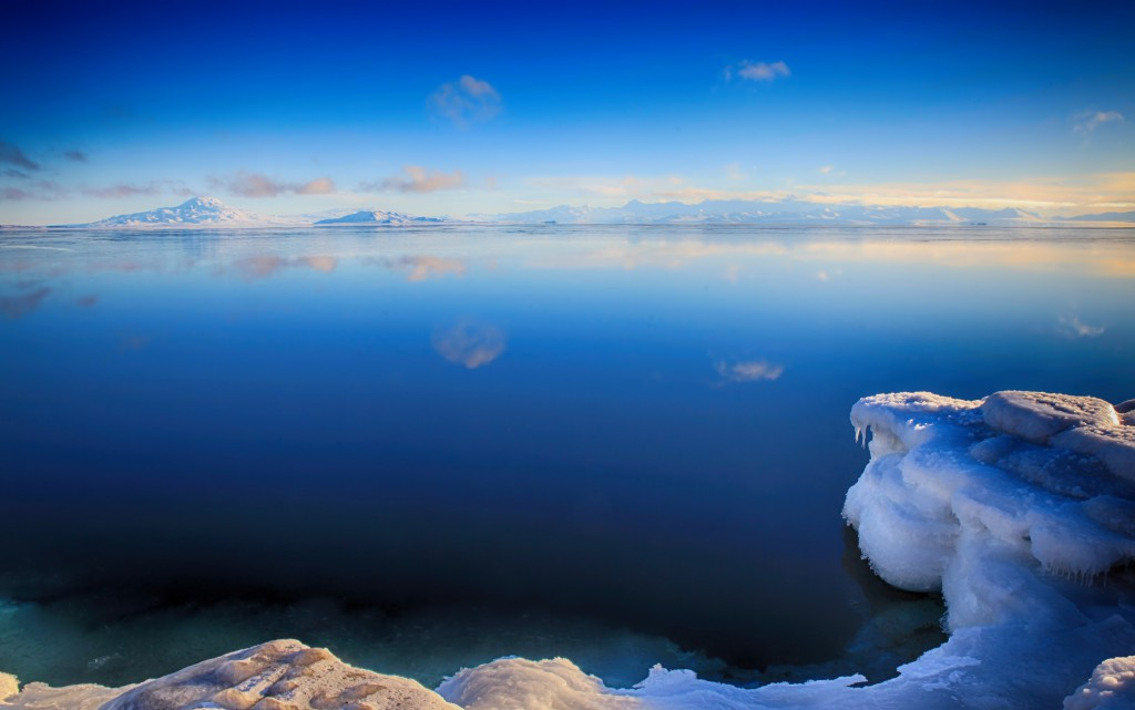 Flat, blue, clear and open sea in Antarctica