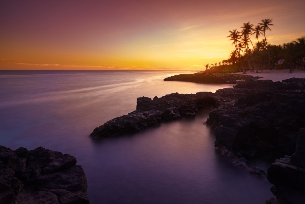 Sunset in on the beach in Upolu, Samoa