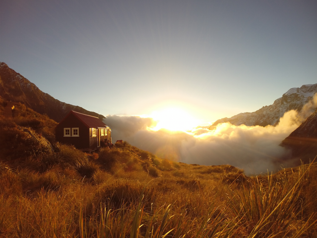 Chancellor Hut at sunset, Fox Glacier. Photo by Marius Bron