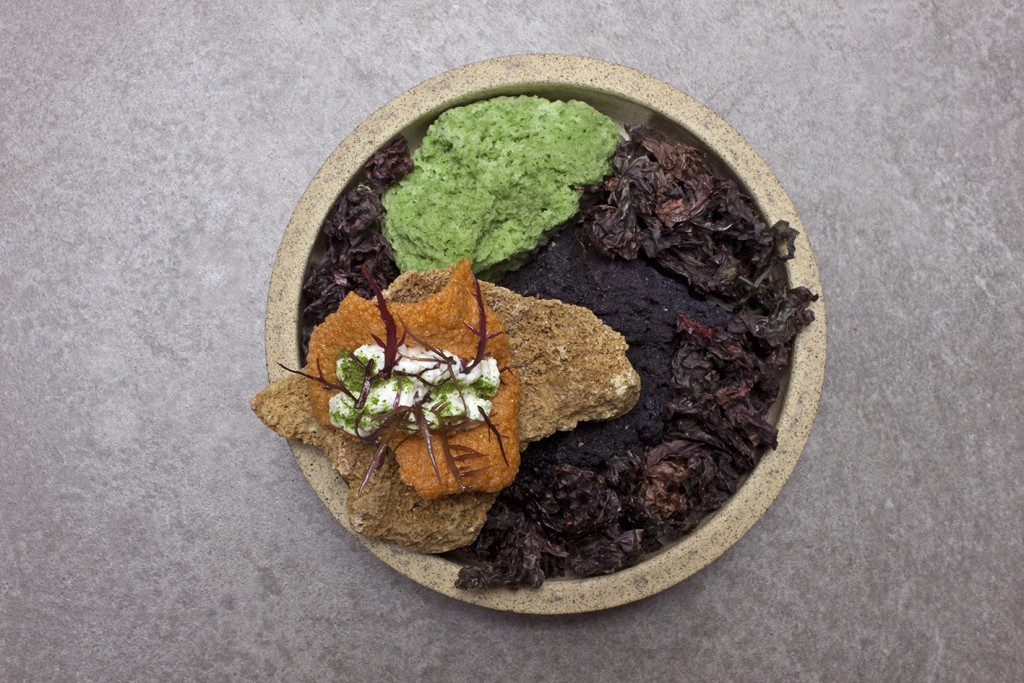 Each meal is presented with the decoration that provide context to the food's origin. Central Restaurant, Lima, Peru