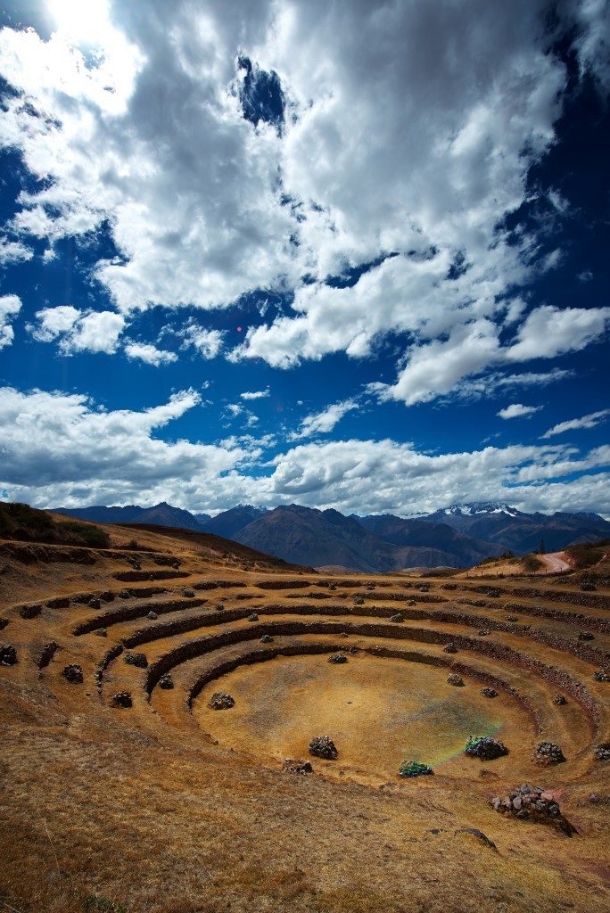 The concentric ringed terraces of the ruins of Moray, Sacred Valley, near Machu Picchu, Peru
