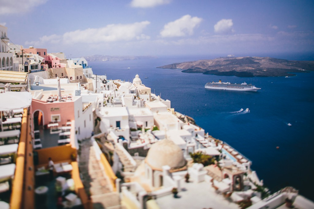 Santorini against the majestic Santorini caldera.