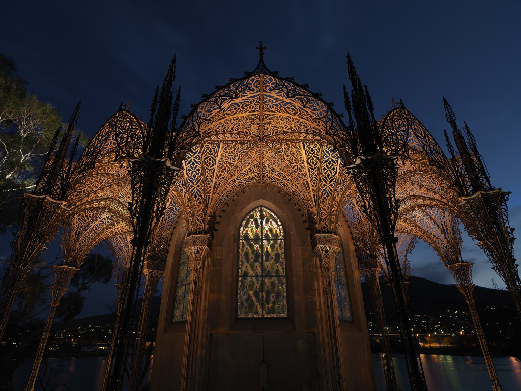 Chapel, 2010 to 2011, Wim Delvoye (Wervik, Belgium, 1965). Corten steel, etched stained glass, steel, lead. Photo by: MONA/Rémi Chauvin. Image courtesy of the artist and MONA Museum of Old and New Art, Hobart, Tasmania, Australia