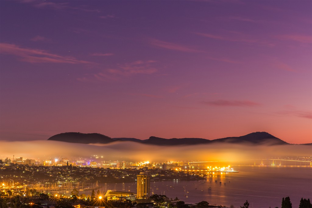 Morning fog blankets Hobart. Photo by Tim Lake