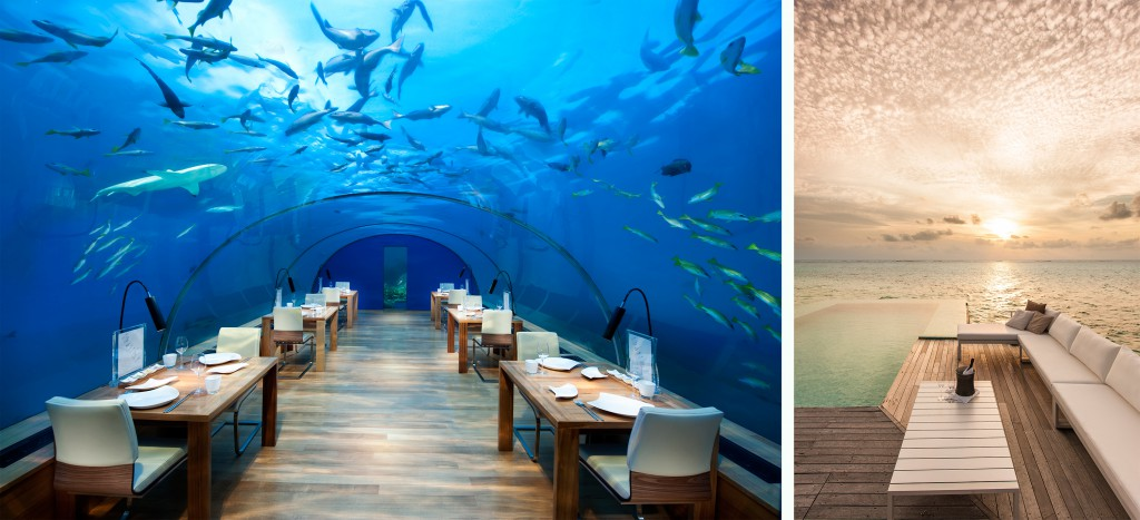 Innovative Hotel Design: Dine as the mermaids do – Ithaa restaurant at Conrad Maldives. Right, unparalleled accommodation experiences across neighbouring islands.