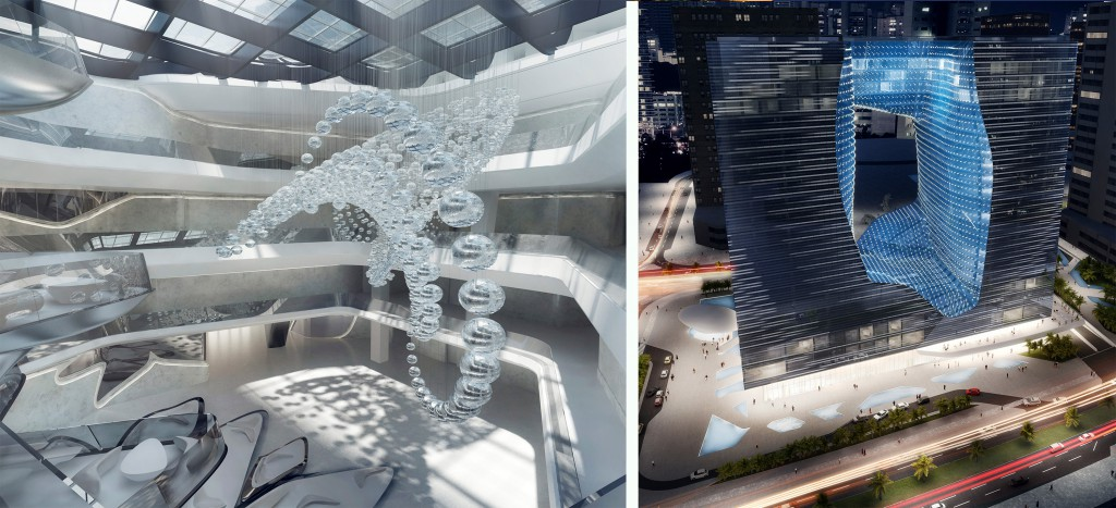 Innovative Hotel Design: The Crest, a sleek bridge-come-water feature will take pride of place at ME Dubai. On the right, the shimmering exterior of the Opus Building that will house ME Dubai in 2016.
