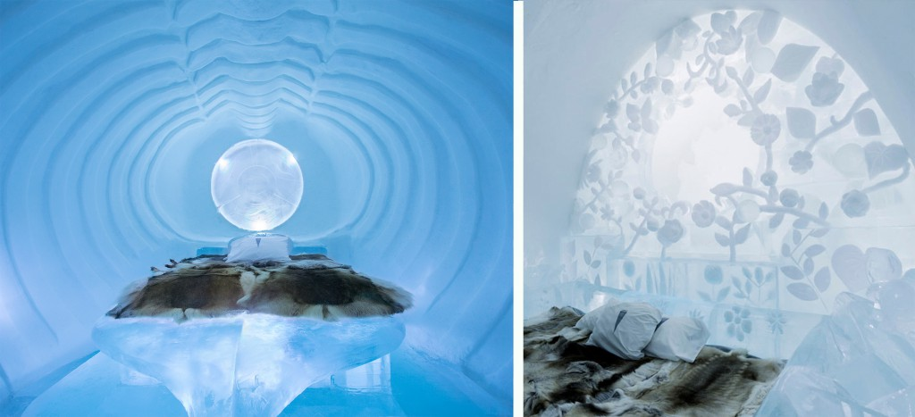 Innovative Hotel Design: Ice is the sculptural medium and rooms manage to capture both austerity and luxury. Artists and construction staff must re-build the Ice Hotel in Sweden every winter.
