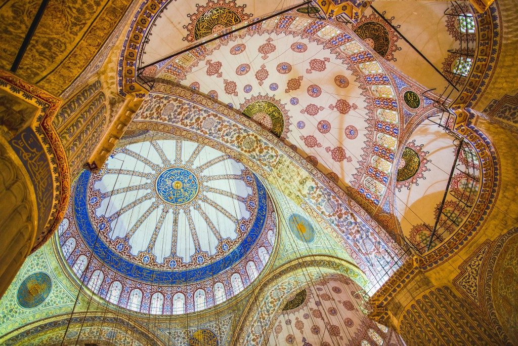 The intricate tiles lining the ceiling of the Sultan Ahmed Mosque, or Blue Mosque, built over seven years in the 1600s. Sultanahmet , Istanbul.