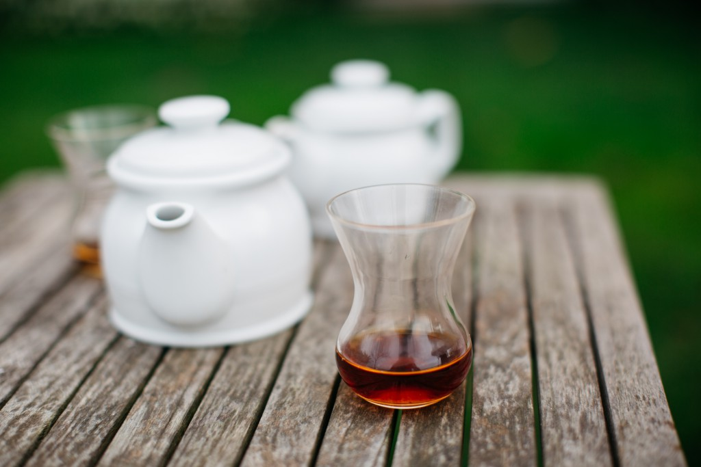 A typical Turkish tea set graces a table at Sumahan on the Water, on the Asian side of the Bosphorus, Istanbul.