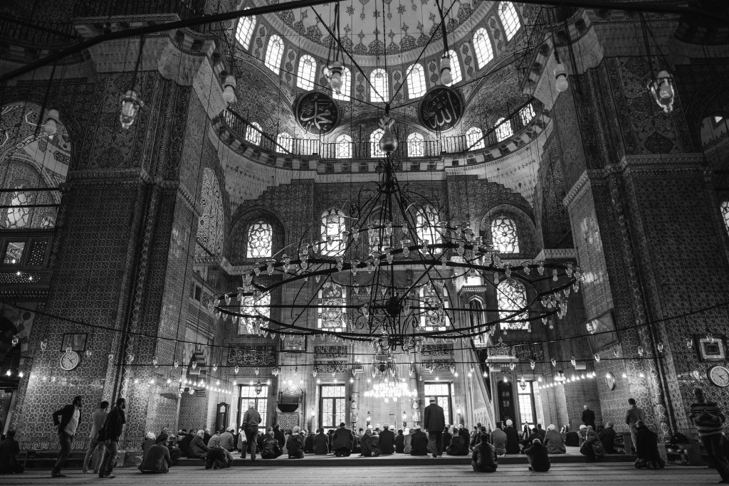 The magnificent Yeni Cami, or New Mosque, during a typical prayer service. Sultanahmet , Istanbul.