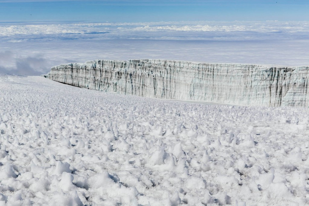 The glacier-lined path leading to the summit of Kilimanjaro.