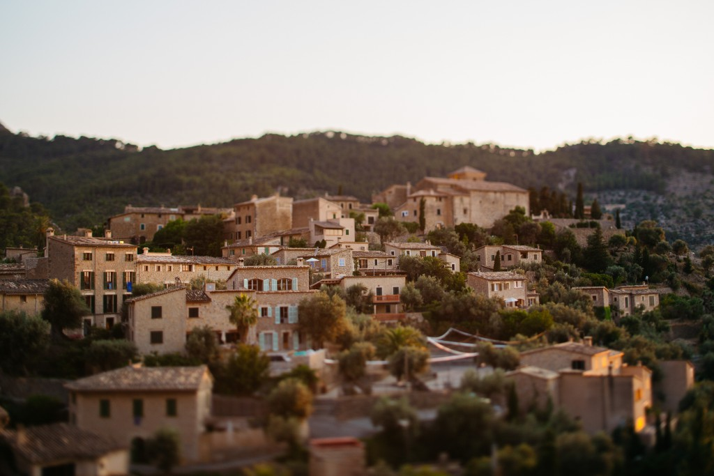 The small coastal village of Deia, Majorca, bathed in the hues of dusk.