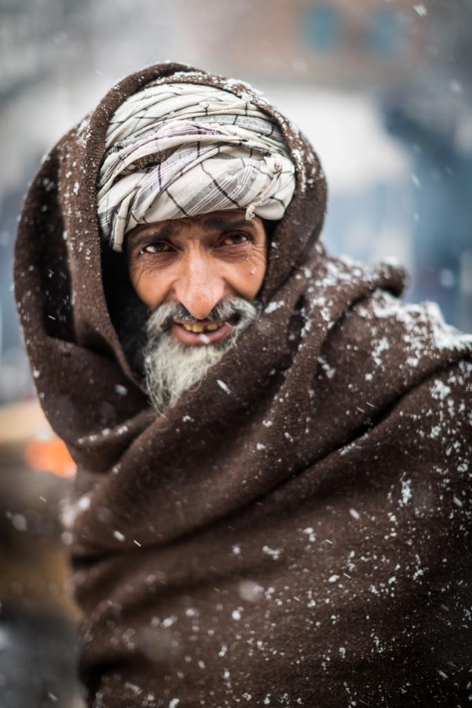 A classic Gujjar face framed by his distinct turban and woolen shawl. Pahalgam, Kashmir, India.