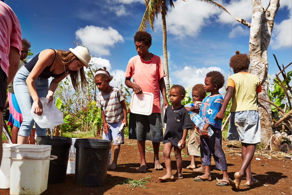 Queuing up for clean drinking water, Vanuatu. Photo by Matt Crawford