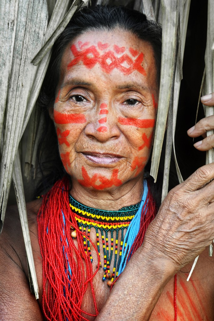 Portrait of a woman from the Desana tribe wearing traditional ornaments and face paint made from berries.