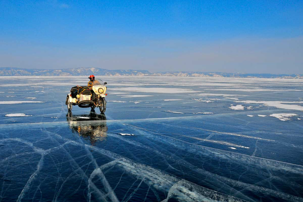 Lone bike on the Ice Run, Siberia