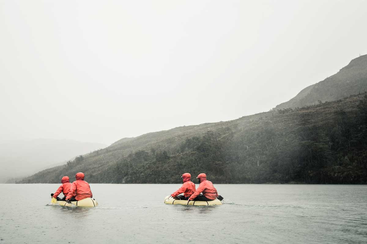 four canoeists on calmer waters in Patagonia