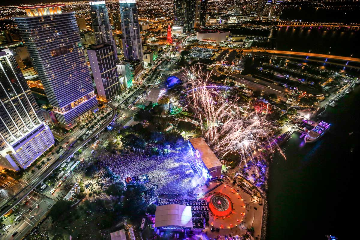 Aerial shot of the fireworks of Ultra Festival in Miami