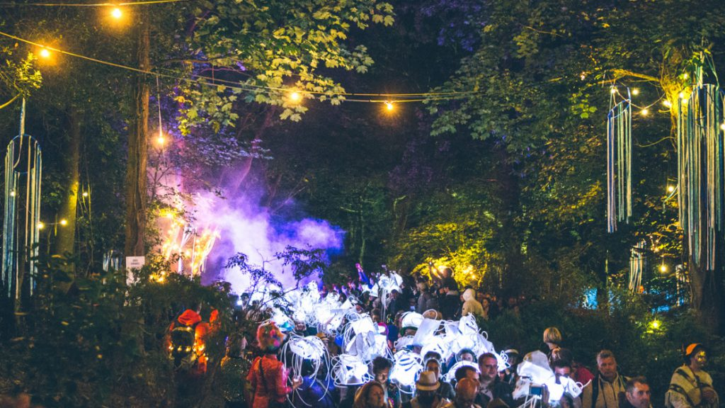 A procession of people wending through the trees at night