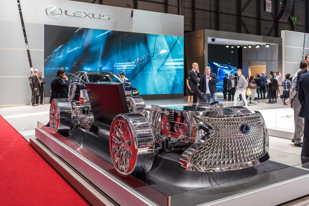The open chassis of a Lexus car