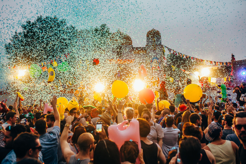 Confetti and ballons above the crowd at the Lovebox Festival