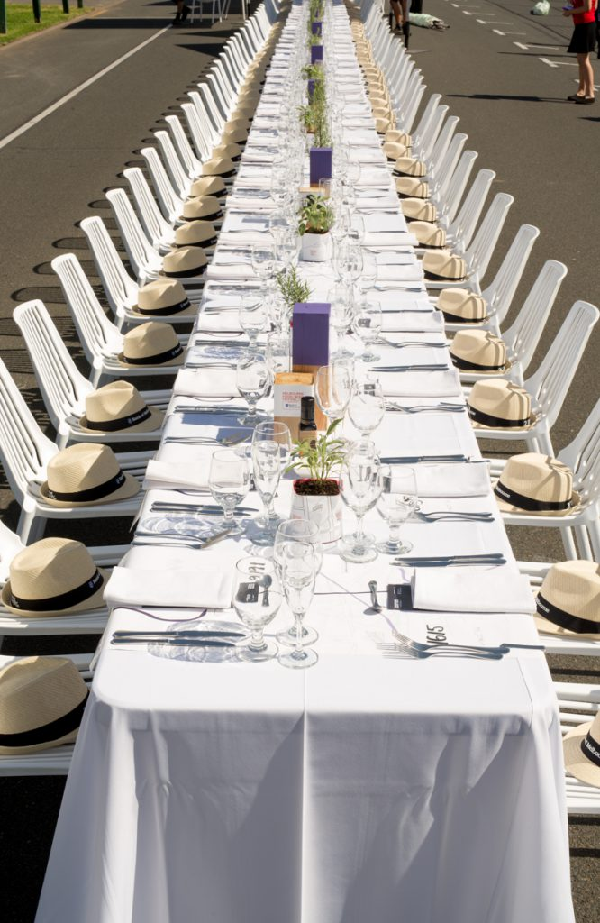 The table setting for the longest lunch at Melbourne Food Festival