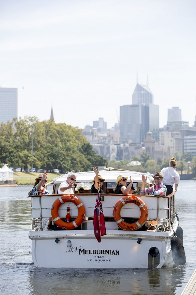 Group leaving on a boat ride on the Yarra River in Melbourne