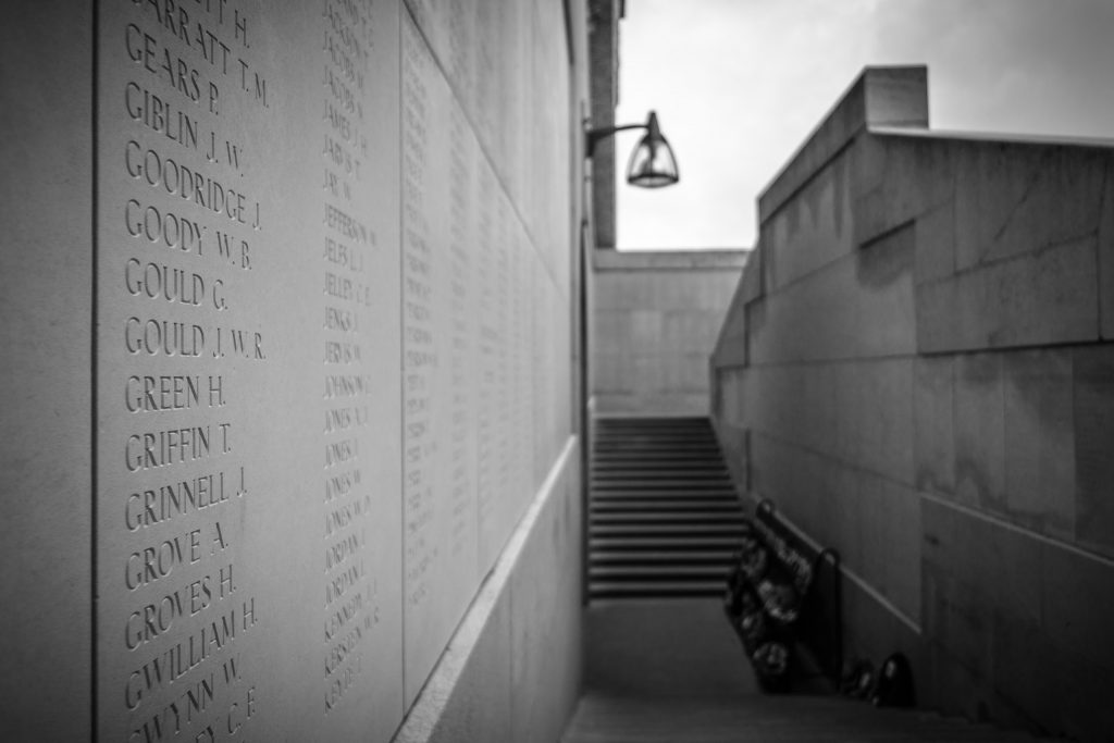 Wall with names of fallen soldiers
