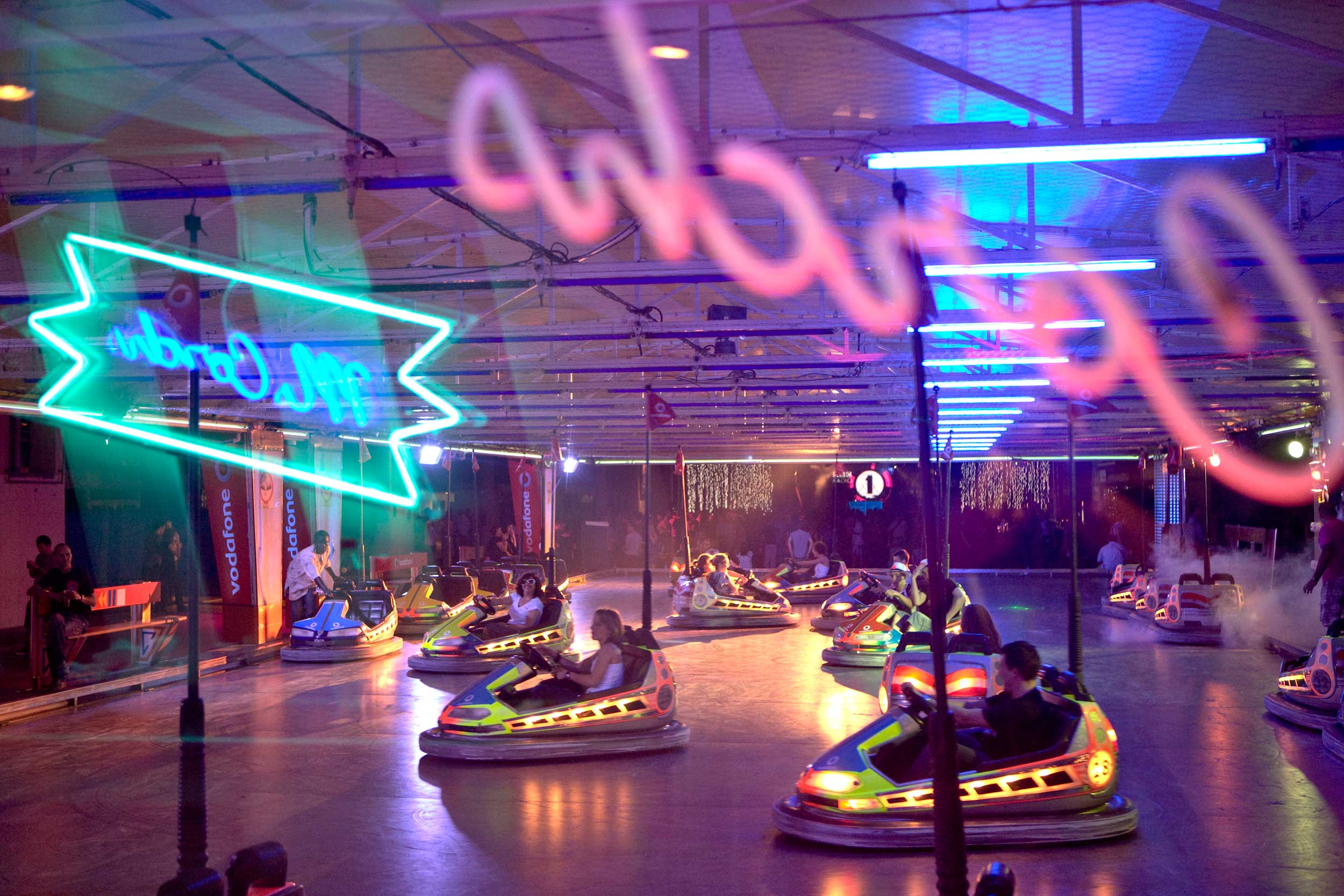 People enjoying bumper cars at Sonar, Barcelona
