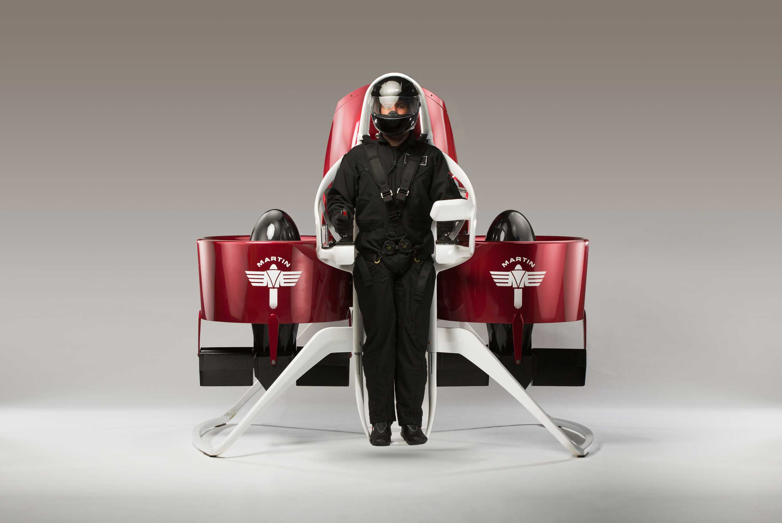 Man strapped to a Martin jet pack