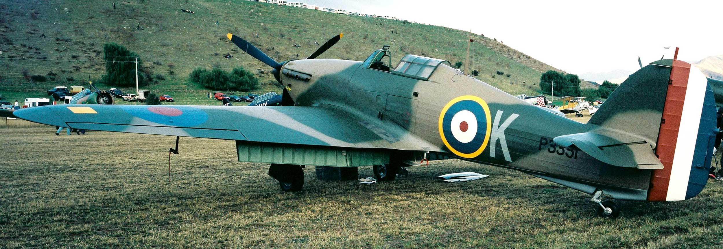 View of a Hurricane war plane on ground at Wanaka Air Show