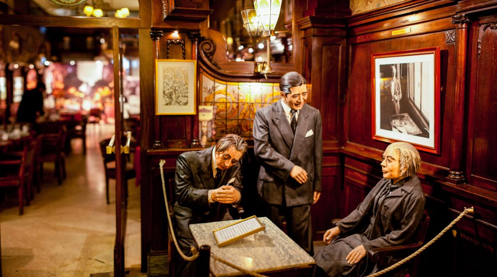 Greats of Buenos Aires A corner of the Gran Café Tortoni always has a table for Jorge Luis Borges, Carlos Gardel, and Alfonsina Storni. As influential writers, poets, and singers, these three mark a golden era of Argentine culture in the early 20th century and represent the idols that once frequented this historic café.