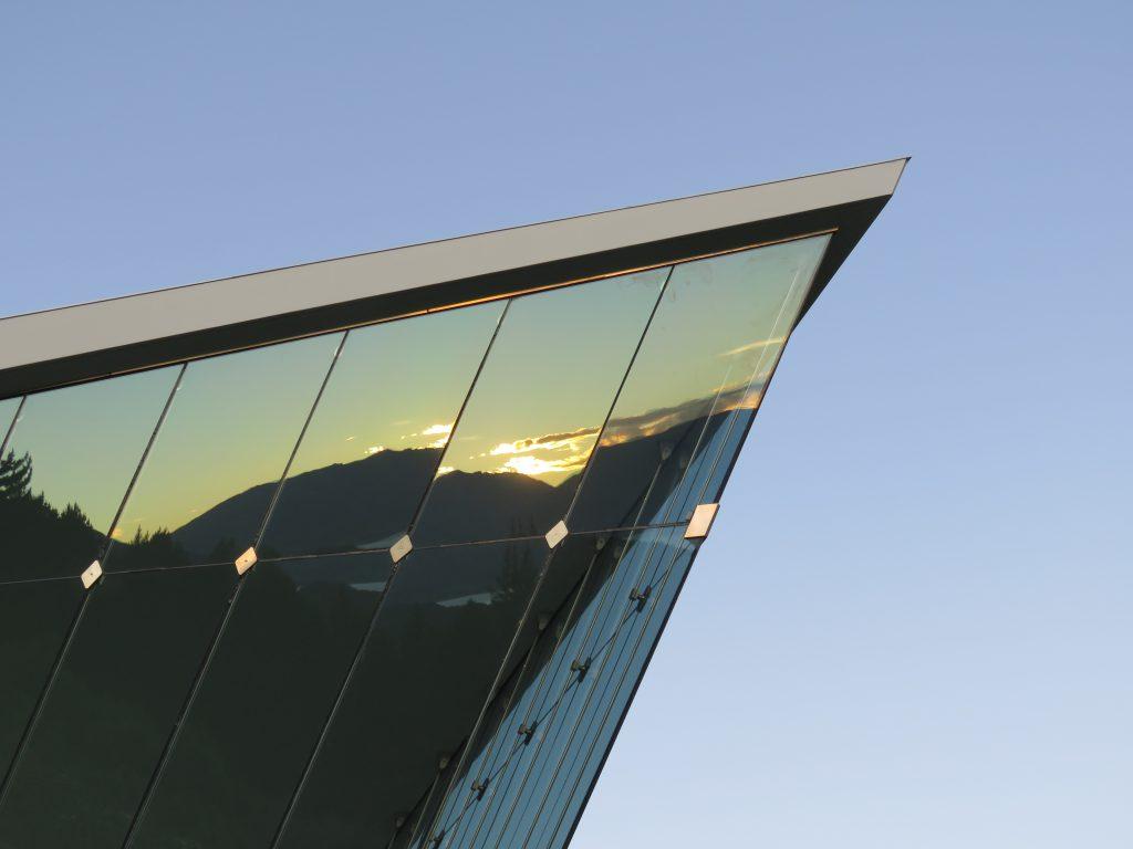 The roof apex of the glass atrium