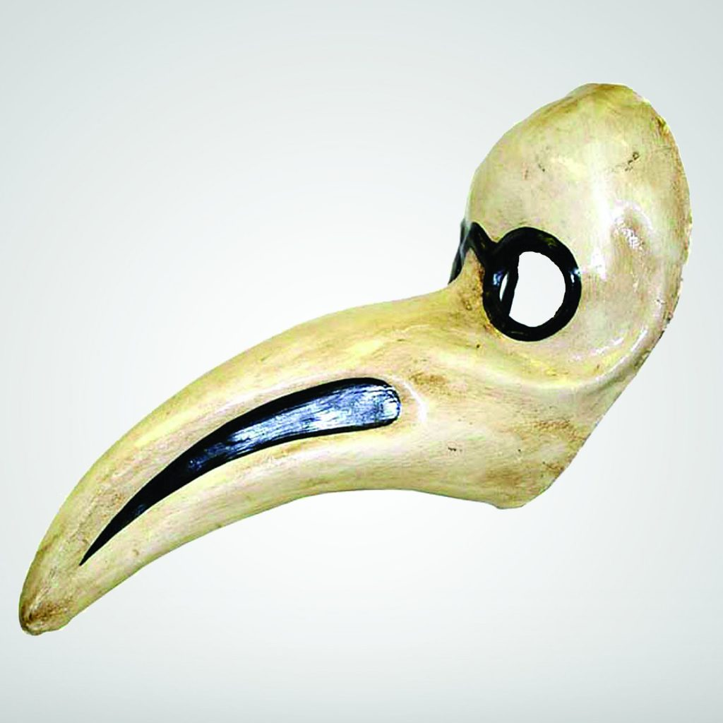 A beaked mask with glass eyeholes
