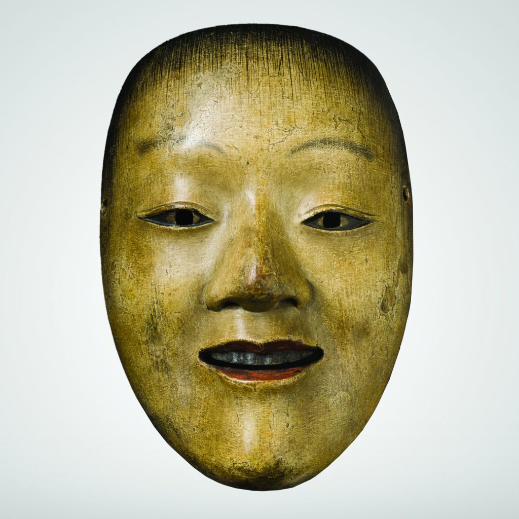 A Noh mask of wood