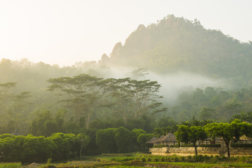 Warm mists at Aman Resorts' Amanjiwo at the foot of the Menoreh Hills