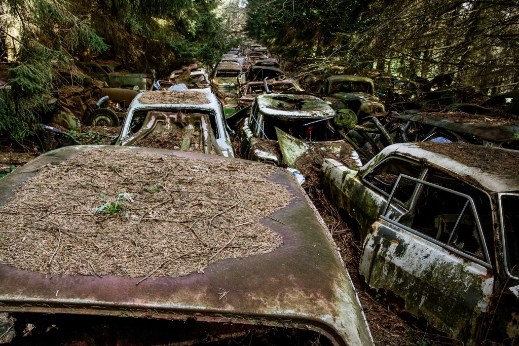 Chatillon Car Graveyard, Belgium An overgrown car graveyard can be found in a quiet forest near the Belgian village of Chatillon. Though their origin remains a mystery, the lichen-laced skeletons of vintage cars are rumoured to have been left by US servicemen who were posted in the area following the Second World War. Newer cars have been added to the foliage highway over time. The rusting corpses have slowly been dismantled by collectors and devoured by the surrounding forest. Although the site has apparently been closed to the public for the last few years because of environmental concerns, hopes remain that it may once again be possible to visit this strangely beautiful place. Photo by Marcel Wiegerinck
