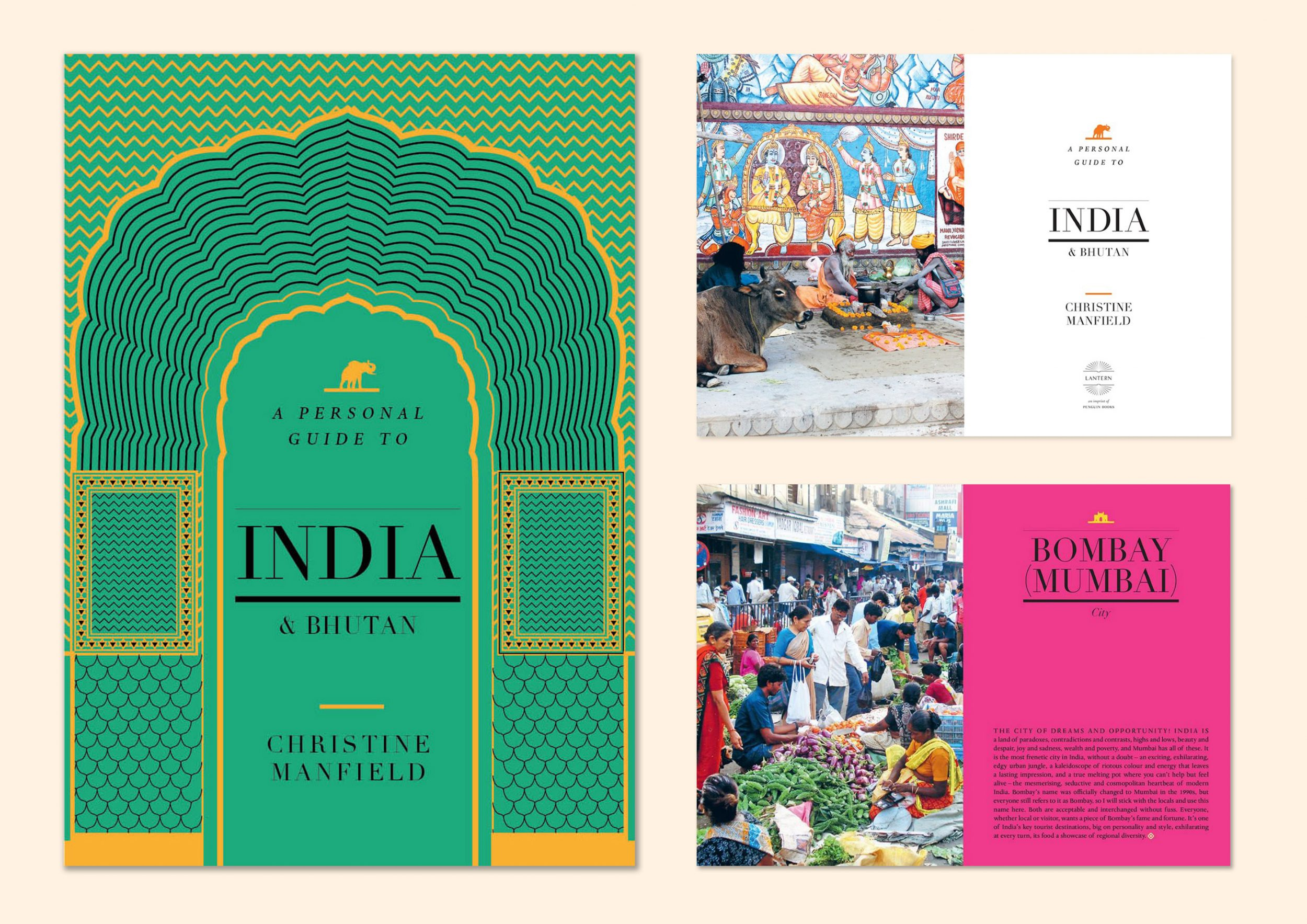 A collage of Christine Manfield's book cover and a couple of pages from A Personal Guide to India and Bhutan is an essential travel guide for the discerning traveller with a comprehensive listing of Christine's favourite places to sleep and eat throughout India and Bhutan.