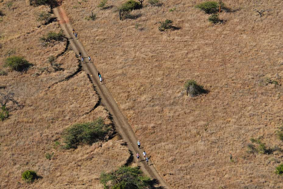 An aerial view of a few scattered runners on a long straight dirt road through the plain at Lewa Wildlife Conservancy in the Safaricom Marathon