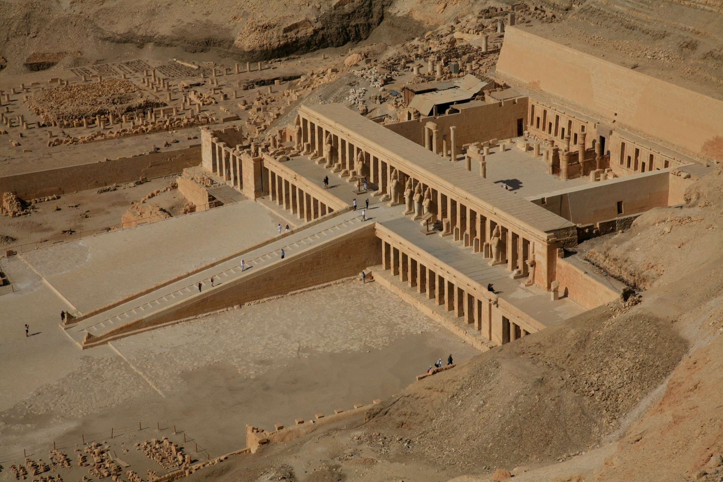 Aerial view of the Mortuary Temple of Hatshepsut, Egypt