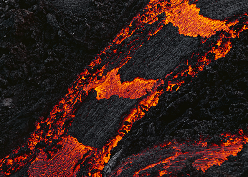 Volcanic Activity: Crust slabs on a glowing lava stream