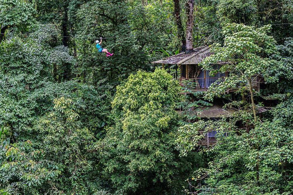 Tree House Community: Woman ziplining towards a treehouse through the treetops